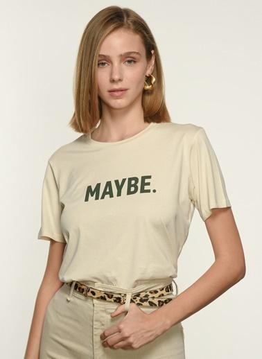 NGSTYLE Kadın Baskılı  Tişört NGKSS21TS0054 Beyaz